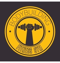 Bodybuilding fitness gym icon vector