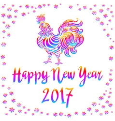 Bright Rainbow Colored rooster symbol of 2017 on vector image vector image