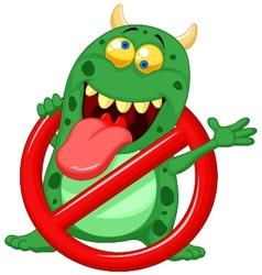 Cartoon Stop virus - green virus in red alert sign vector image