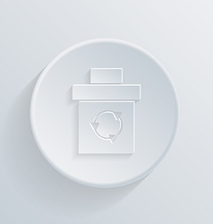 Circle flat icon with a shadow basket garbage vector