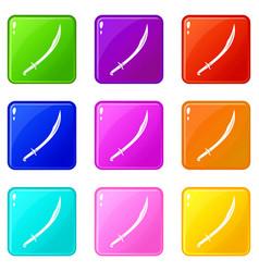 Cutlass icons 9 set vector