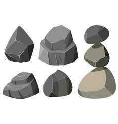 Different shapes of gray rocks vector