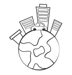 Doodle of world with building vector