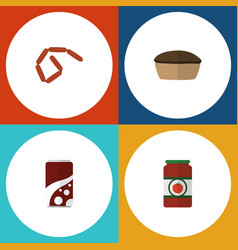 Flat icon food set of ketchup tart bratwurst and vector