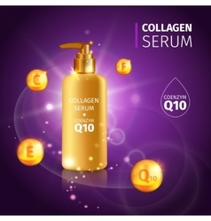 Gold collagen serum tubes poster vector
