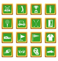 golf items icons set green vector image vector image