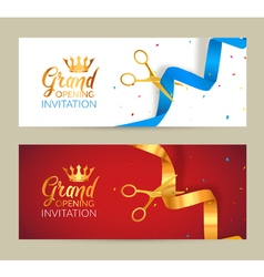 Grand opening invitation banner golden ribbon and vector