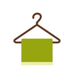 Green scarf on coat-hanger flat icon vector