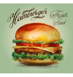 hamburger burger logo design template vector image