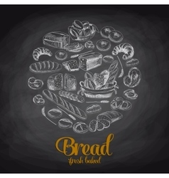 Hand drawn with bread Sketch vector image