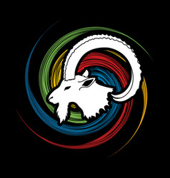 Ibex head with big horn mountain goat vector