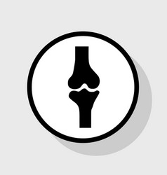 Knee joint sign flat black icon in white vector