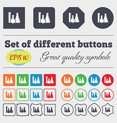 Laboratory glass chemistry icon sign big set of vector