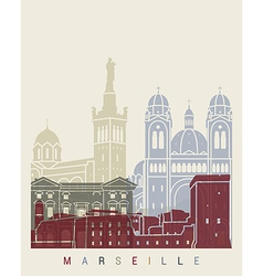 Marseilleskyline poster vector image vector image