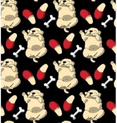 Puppy cute rest sleep relax seamless pattern dark vector image vector image