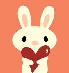 rabbit with love vector image vector image