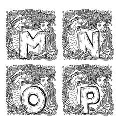 retro mermaid alphabet - m n o p vector image