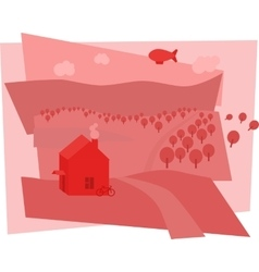 Rural landscape with fields and hills vector image