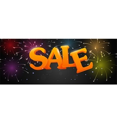 Sale with fireworks on night background vector