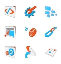 Seo optimization icons set cartoon style vector