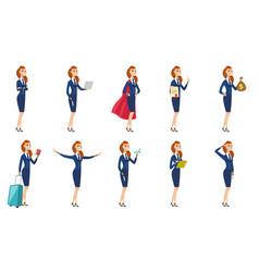 Set of stewardess characters vector