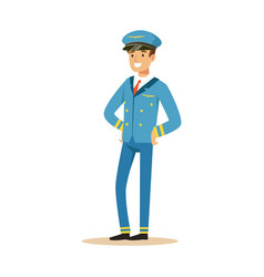 smiling pilot stands on isolated white background vector image vector image