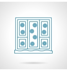 Snowfall out a window blue line icon vector image
