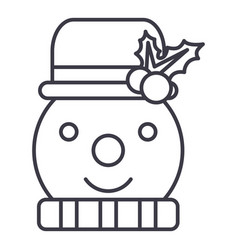 snowman line icon sign on vector image