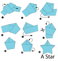 Step instructions how to make origami a star vector