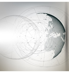 Three-dimensional dotted world globe with abstract vector image vector image
