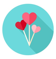 Valentine day heart shaped balloons circle icon vector