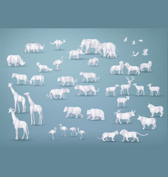 Wild animals in many types paper art and origami vector