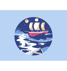 Sailing in the sea vector