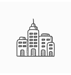 Residential buildings sketch icon vector image