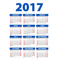 2017 calendar - template of 2017 calendar vector
