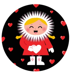 Cute eskimo girl holding heart design vector
