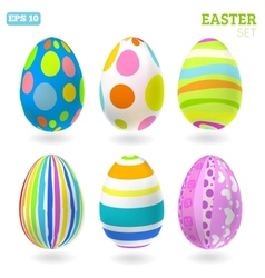3D easter eggs set with shadows vector image