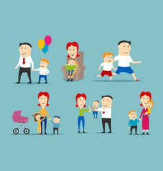 Happy family set with parents and children vector