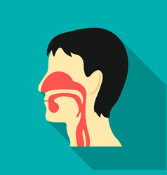 Respiratory system icon flat single medicine icon vector