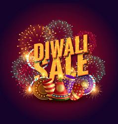 amazing diwali sale voucher with festival vector image