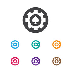 Of casino symbol on poker chip vector