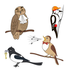 Set of cartoon birds owl woodpecker nightingale vector