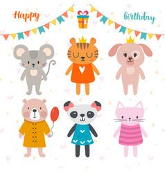 Happy birthday design with cute cartoon animals vector