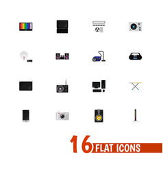 Set of 16 editable technology flat icons includes vector