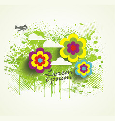 Watercolor splash with flowers for summer holiday vector