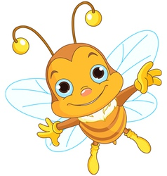 Cute bee flying vector