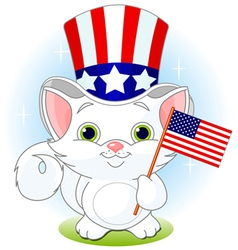 Fourth of July kitten vector image