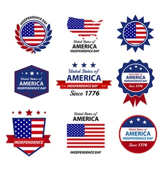 4th Happy Independence day badge and label vector image