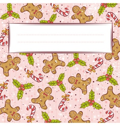 Grunge pink background with christmas elements vector