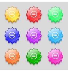 Minus sign icon negative symbol zoom out set vector